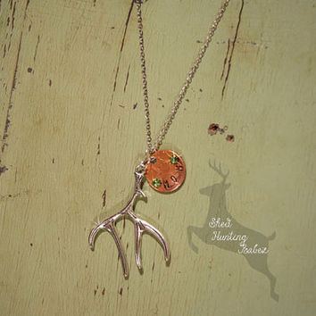 Mom's Birthstone Antler Charm Necklace  / Antler Necklaces