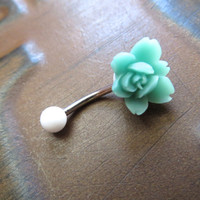 Teal Orchid Lotus Belly Button Ring Jewelry- Turquoise Blue Green Flower Charm Navel Piercing Barbell Bar Stud