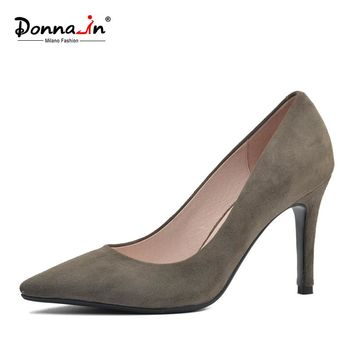 Donna-in 2017 New Style High heels pumps Natural suede leather Sexy Pointed Toe Office Singles Heeled woman Shoes