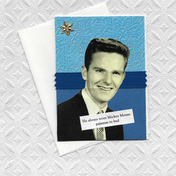 Funny Blue Note Card for Guys Who Love Mickey Mouse