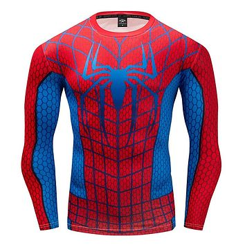 Spiderman Men's T-Shirt 3D Compression shirt summer work out Fitness Casual Tops quick-drying breathable Round neck T-shirt