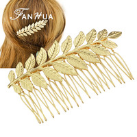 FANHUA  New Style Hair Jewelry  Individual Gold-Color Silver Color Leaf Hair Comb Wedding Hair Accessories For Fashion Lady