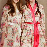 "One Custom ""Astaire"" Style long robes in lined chiffon. Full length dressing gown. Floor length robe. Long bridal robe."