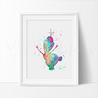 Olaf 2, Frozen Watercolor Art Print