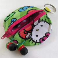 Hello Kitty Circle Earbud Holder Pouch / Neon Bows Coin Purse