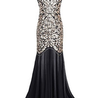 Kayamiya Women's 1920s Beaded Sequin Floral Maxi Long Gatsby Flapper Prom Dress