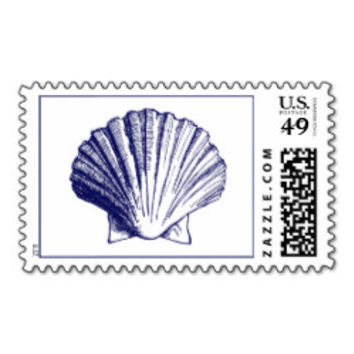 Sea Shell Top Navy Blue Postage Stamp