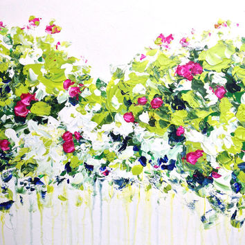 Summer Green Acrylic Palette Knife Painting