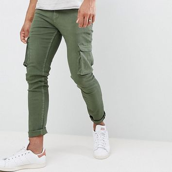 LDN DNM Skinny Jeans with Cargo Pockets in Khaki at asos.com