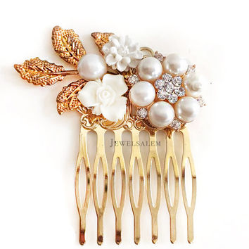 Gold Wedding Hair Comb, Leaf, White Pearl, Rhinestone, Flower, Bridal Hair Accessories, Romantic Headpiece, Bridesmaids Gift, Hair Adornment