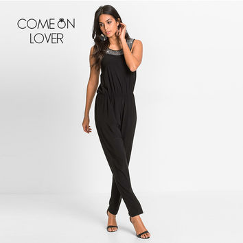 Comeonlover Europe And The United States Jumpsuits Rompers I80423 Diamond Sleeveless Crew Neck Long Rompers Womens Jumpsuit 2017