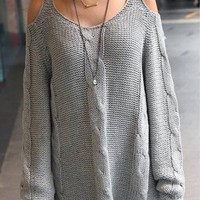 Knitted Open Shoulder Pullover from Mai Boutique