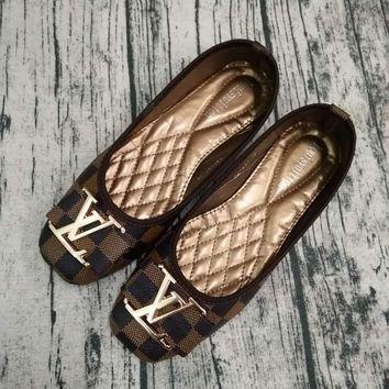 One-nice™ Big logo Louis Vuitton LV plaid flat shoes canvas women sandals shoes H-LLBPFSH