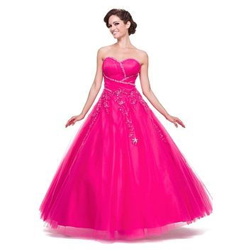 Poofy Fuchsia Quinceanera Tulle Dress A Line Strapless Beading
