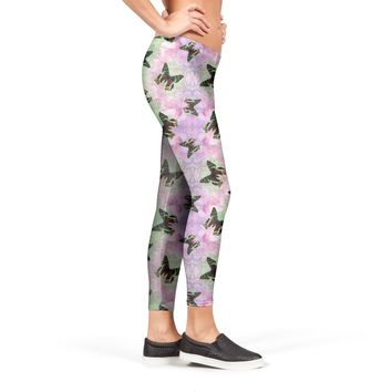 Urania ripheus butterfly watercolor pattern Leggings by Savousepate from €37.00 | miPic