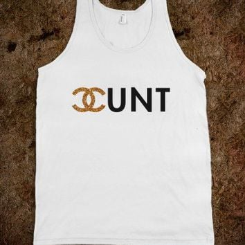 Chanel Cunt Glitter (Tank) - white qurl wasted