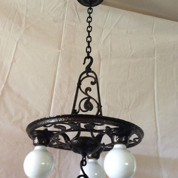 Antique Hi Glo Chandelier Early Colonial Hammered Metal Design 3 Light 1930s