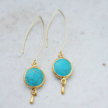 statement gemstone LONG earrings summer fashion sky  sea blue  turquoise stone matte textured gold frame gemstone earrings israel