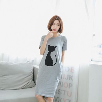 Free shipping 100% cotton nightgown sleepwear night shirt nightdress pyjamas women women's Sleepshirts Outside the single