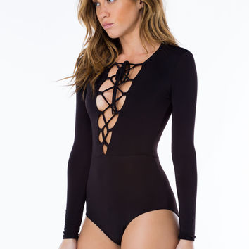 All Tied Up Plunging Lace-Up Bodysuit GoJane.com