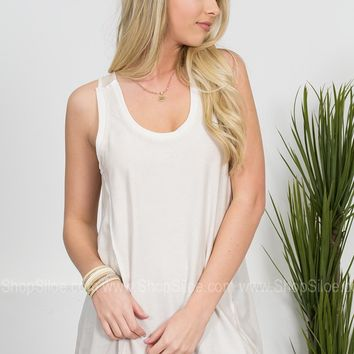 Dear John Frayed White Tank