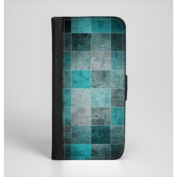The Dark Teal Tiled Pattern V2 Ink-Fuzed Leather Folding Wallet Case for the iPhone 6/6s, 6/6s Plus, 5/5s and 5c