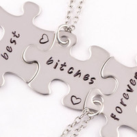 Best Bitches Forever Puzzle Piece Necklaces | Gift For Best Friend | 3 Piece Best Bitches Jewelry | Best Friend Jewelry | Best Friend Gift