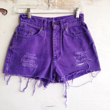 Purple Galaxy Space High Waisted Shorts Size 2/3