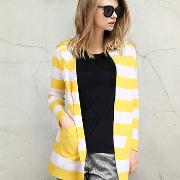 Striped Long Sleeve with Twin Pocket Open Cardigan