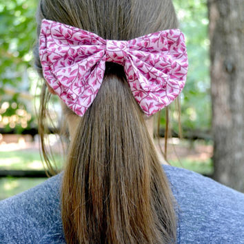 Pink Floral Cotton Bow