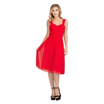 Red Short Wedding-Guest Dress Ruched-Bodice