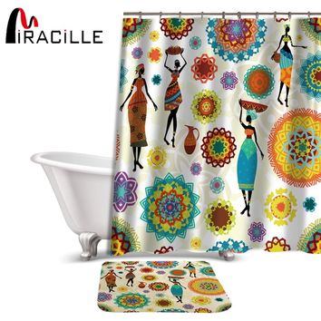 Miracille Hippie Style Waterproof Bathroom African Dance Women Print Shower Curtains Non-slip Bath Mat Set for Doormat Outdoor