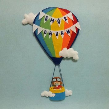 Hot air ballon, Personalized nursery decor, Nursery wall art, Nursery decor, Kid Bedroom Decor, Door Name Sign, Wall Hanging, Name banner