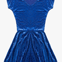 Blue Embroidered Sheer Mesh Velvet Mini Dress