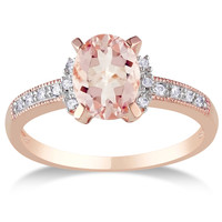 Miadora Sterling Silver Morganite and Diamond Accent Ring | Overstock.com Shopping - The Best Deals on Gemstone Rings