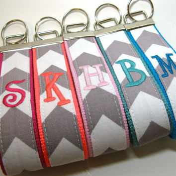 Monogrammed Chevron Keychain - Design Your Own - Grey and White Key Fob