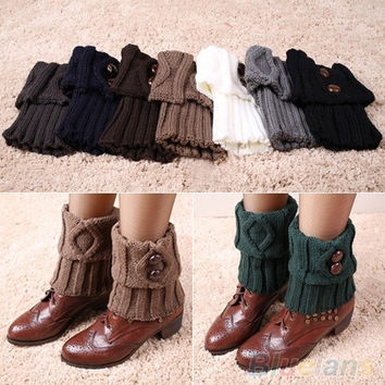 Women Winter Leg Warmers Socks Button Crochet Knit Boot Socks Toppers Cuffs = 1958338372