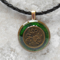 leo necklace: green - mens necklace - man jewelry - astrology - boyfriend gift - zodiac - birthday gift - leather cord - unique gift