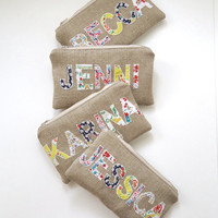 Set of 4  Personalized Burlap Feedsack Zipper by JuneberryStitches