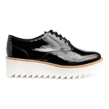 Patent platform shoes - Black/White - | H&M US