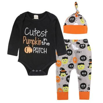 Kids Tales Newborn baby boy girl Halloween costume Pumpkin Romper+pant+hat clothing set for 6-18M Toddler Baby 3PCS Outfits