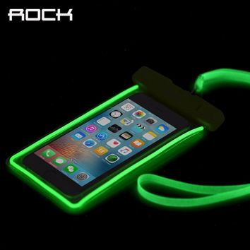 ROCK Luminous Waterproof Phone Cases for iPhone 5 6 7/Samsung/Xiaomi/Huawei/Meizu Universal Glow in Dark Covers 6 inches Phones