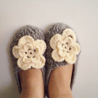 Adult Wool Grey Crochet Slippers, Whit cream flower. Thick, Simply slippers, Women slippers house shoes.