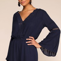 Say It Ain't So Embroidered Romper - Navy