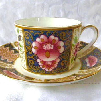 Coalport Java Teacup, English Bone China, Vintage Imari Style Dinnerware, Made in England, Cup and Saucer