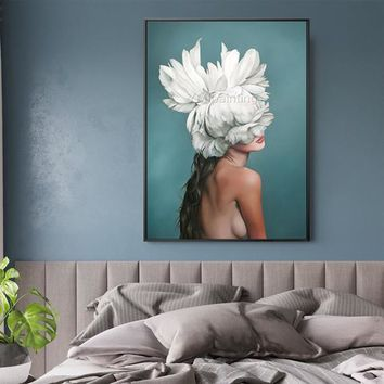 Original Nude Oil Painting on Canvas Lady with Feather extra Large Texture Nordic Wall Art Pictures for living room cuadros abstractos decor