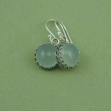 Chalcedony Earrings - sterling silver bezel set earrings, gemstone jewelry, green chalcedony