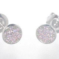 Sterling Silver Pink CZ Stud Earrings Pave Cubic Zirconia 6mm Circle