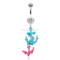 Classic Sparrow Anchor Belly Button Ring (Clear)