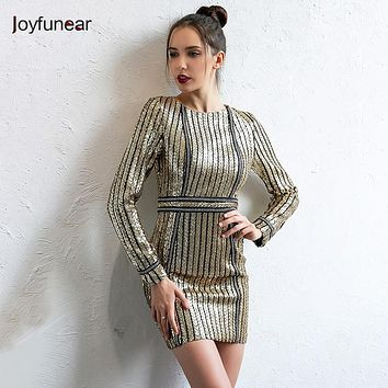 Joyfunear Autumn Winter Long Sleeve Sequins Dress 2017 Sexy Bodycon Sheath Gold Pattern High Neck Party Dresses Nightclub Hot